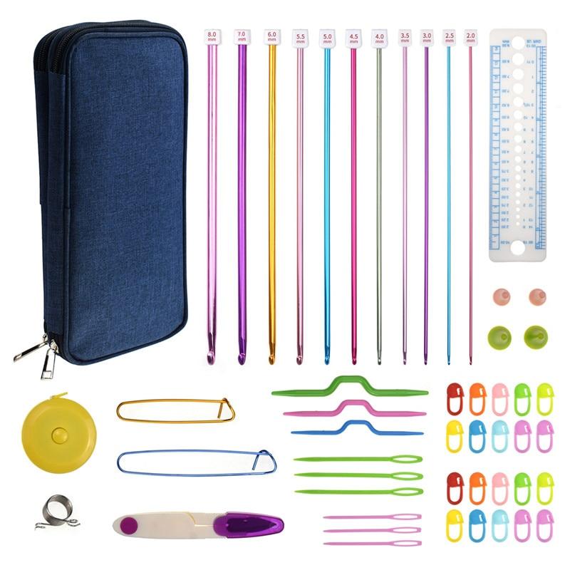 Conjunto de ganchos de ganchillo tunecino 11 Uds 2mm a 8mm Juego de gancho de agujas de tejer tijeras accesorios de costura con ganchos para bolsas para tejer