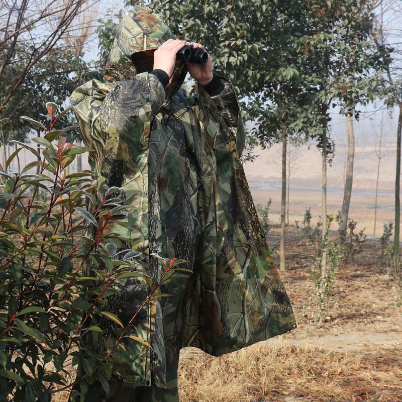 Poncho de camuflaje para bosque estilo impermeable, traje Ghillie, capa impermeable, abrigo de caza de poliéster no pegue la hierba, ropa para la lluvia