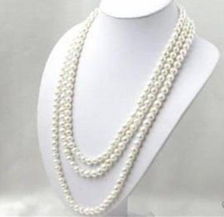 Joyería para mujer de 80 pulgadas 7-8MM AKOYA blanca collar de perlas cultivadas, joyería de piedra Natural