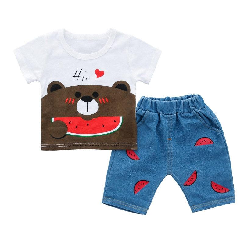 2019 watermelon bear cute cartoon cotton suit boy children's clothing Korean summer fashion short sleeve suit