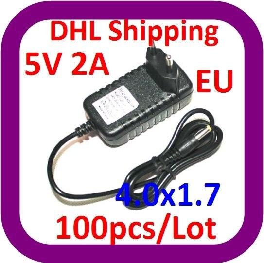 DHL شحن مجاني 100 قطعة/الوحدة الجملة رخيصة 5V 2A الاتحاد الأوروبي التوصيل 4.0*1.7 مللي متر AC الطاقة DC محول ل DVD لاعب اللوحي