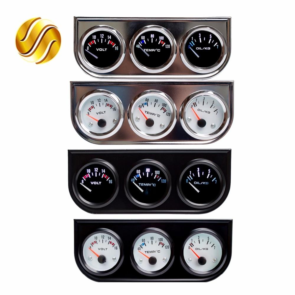 Dragon Gauge Car Triple Gauge 52mm Voltage / Water Temp (Celsius) / Oil Press Black / Chrome Bezel 3-In-1 Kit Meter