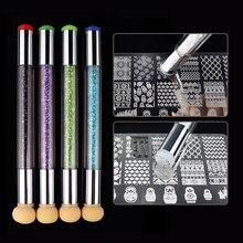 Dual-Ended Potlood Stamper Nail Borstels Spons Ontwerp Strass Handvat Borstel Nail Uv Gel Pen Nail Art Tool