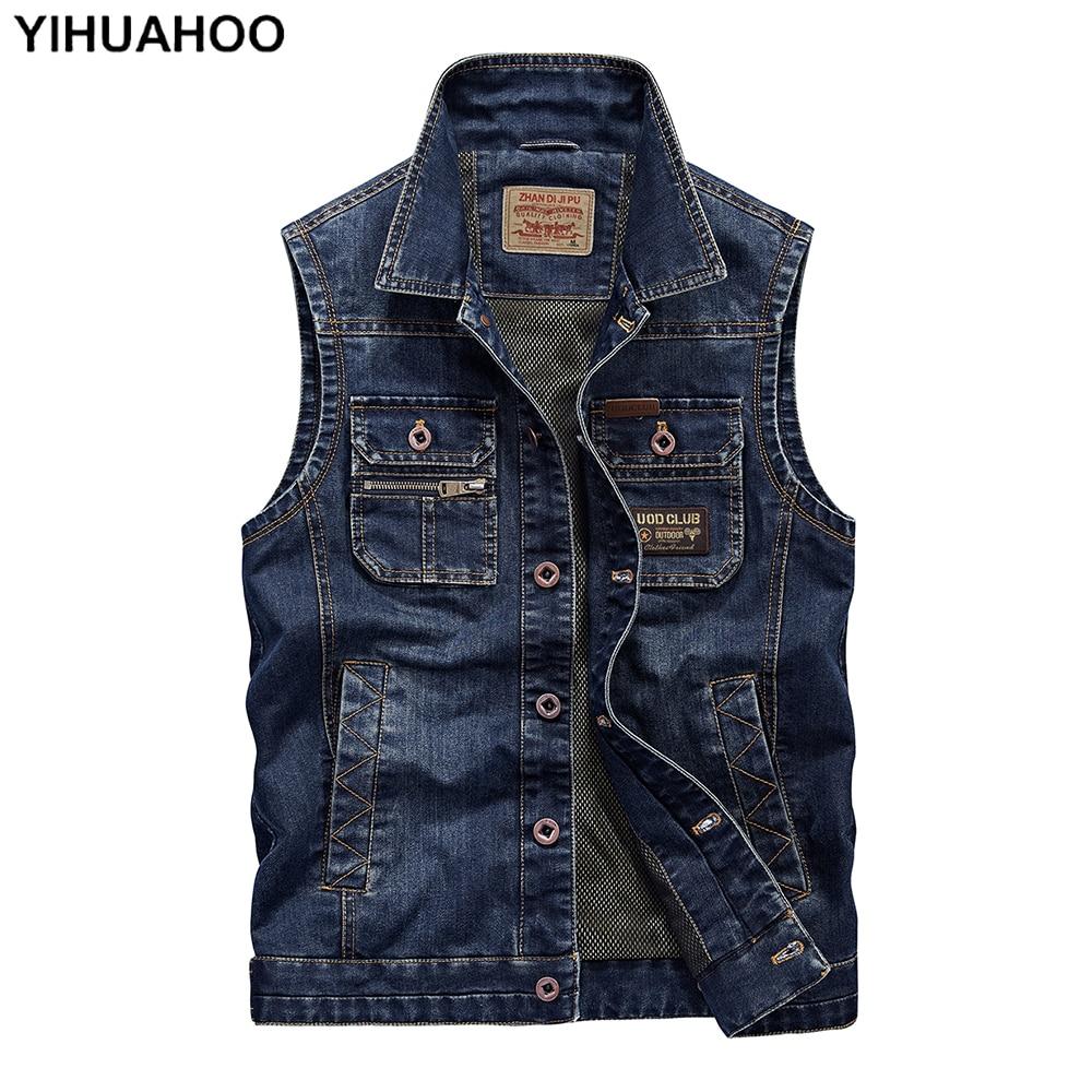 Chaleco informal YIHUAHOO para hombre, sin mangas con múltiples bolsillos chaqueta vaquera, chaleco Vaquero de algodón para hombre, chaleco para hombre SJS-65003