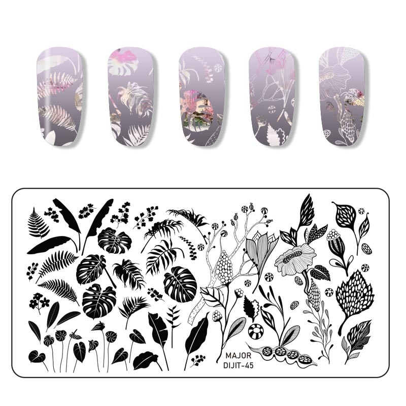 WAKEFULNESS Rectangle Nail Stamping Plates Flower Leaves Mixed Pattern Nail Art Image Stamp Template Tools 1pcs black flower lace nail stamping plates stainless steel nail art stamp template manicure tools uv gel nails art decorations