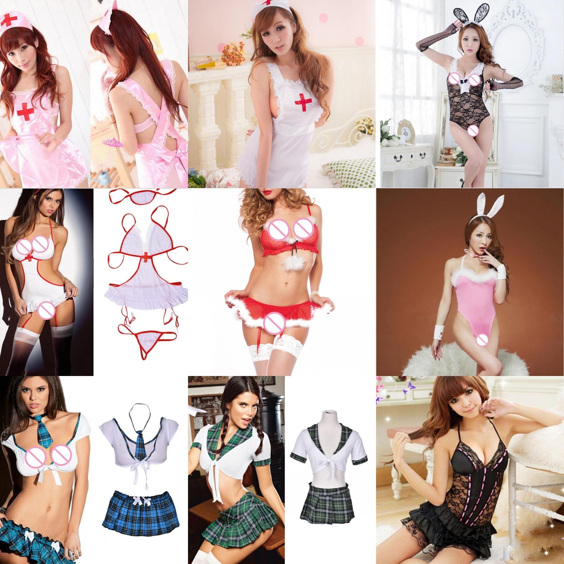 Las mujeres Lencería de enfermera Sexy dama estudiante Cosplay disfraces picardías de encaje erótico Sexy ropa interior Babydoll ropa de dormir