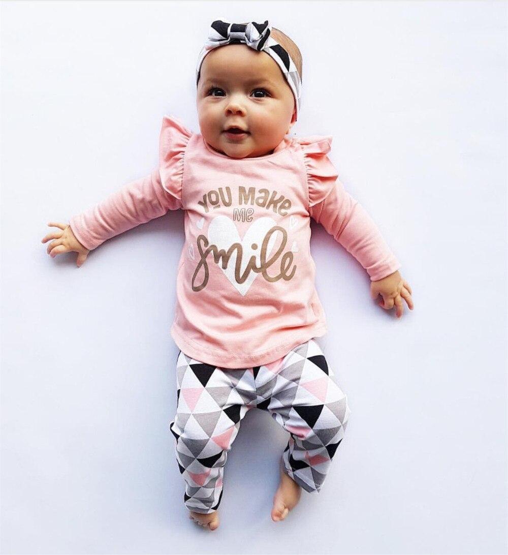 Одежда для маленьких девочек модный осенний комплект из 3 предметов для новорожденных, хлопковая футболка и штаны повязка на голову, осенняя одежда для малышей комплект одежды для девочек