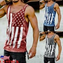 2018 Hot Sale Mens American Flag Design Cotton Blend Sleeveless Tank Tops Muscular Fitness Bodybuilding Tank Top Skull Vest