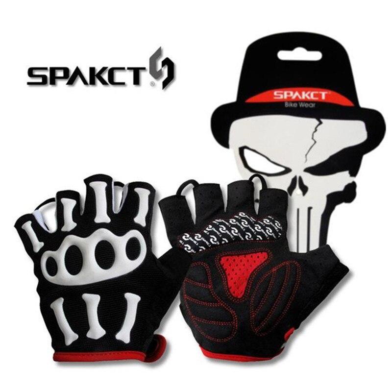 SPAKCT Men's Bike Cycling Half Finger Skull Gloves Bicycle Road  MTB Skeleton Silicone Gel Paded Short Gloves S-XXL Sizes