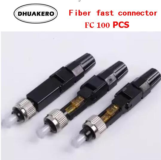 Frete grátis ab76p 100 pces fc single-mode rápida e fria conector de fibra óptica ftth adaptador rápido