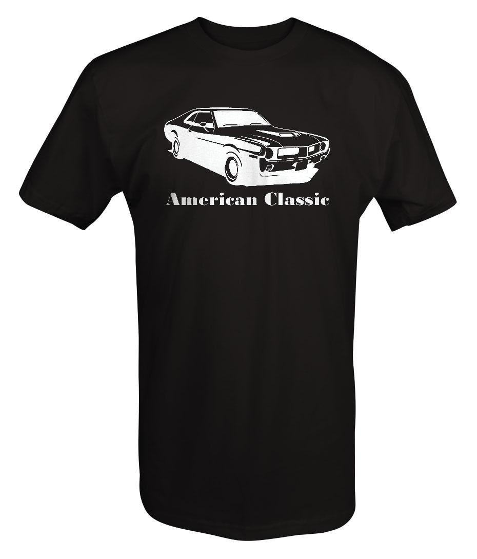 Clássico americano Amc Amx Dardo 1970S Muscle-Car Venda Quente Top Roupas de Fitness Tops Masculino Impressão Camiseta Homme camisa de T
