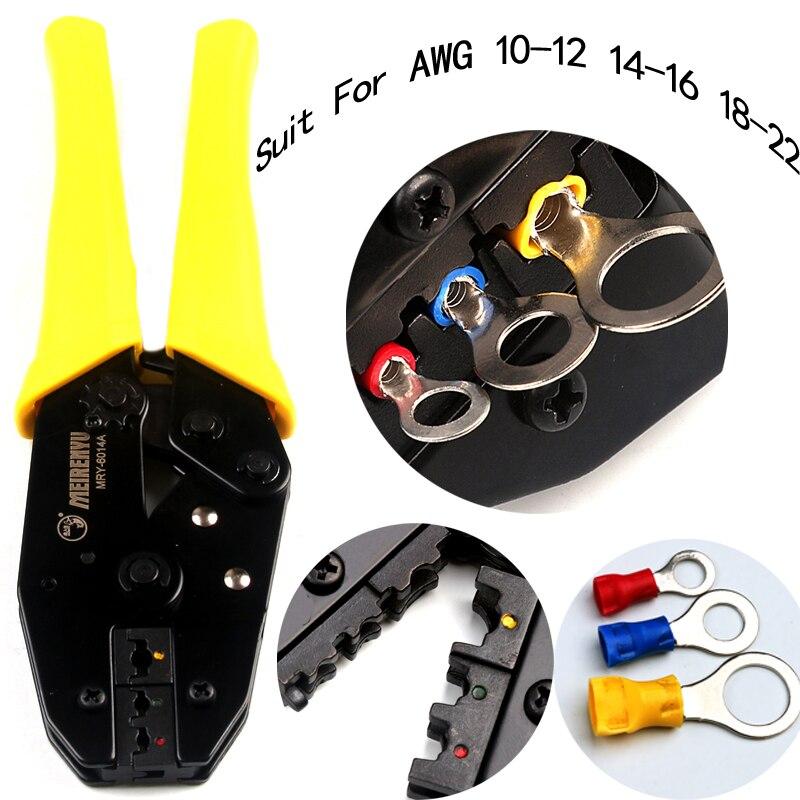 Alicates de prensa en frío 0.5mm 2/2.5mm 2/4.0mm 2/6.0mm2 alicates de crimpado de terminales herramientas de red Crimper AWG 22-10 herramientas de mano