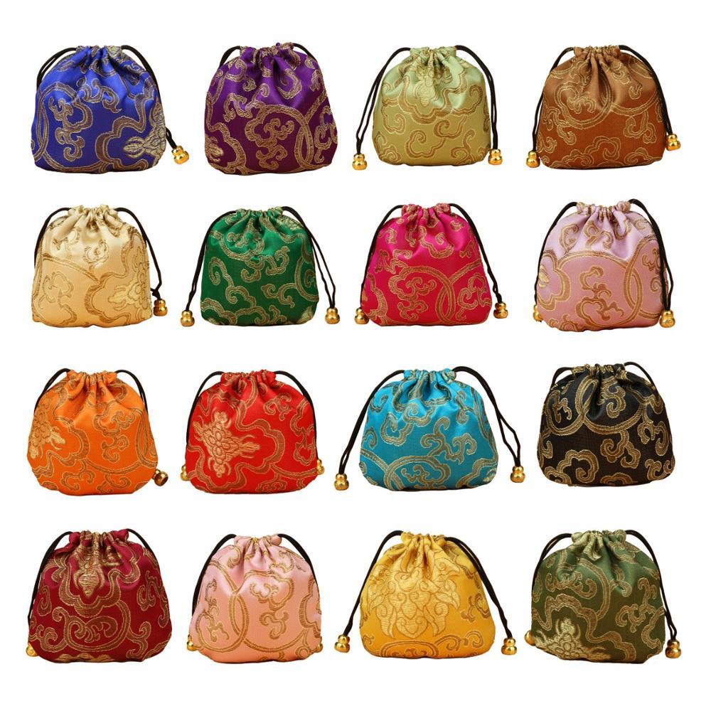 Оптовая продажа/Розничная продажа, одна упаковка (32 шт.), сумка из шелковой парчи для ювелирных изделий, Подарочный Кошелек для монет
