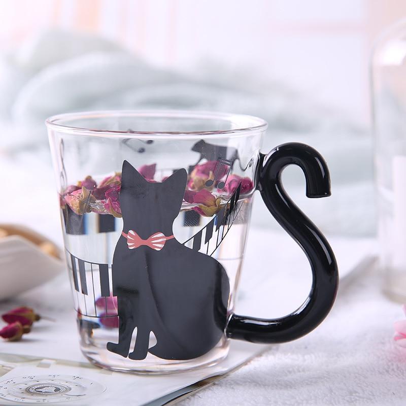 Dozzlor 1Pc 300ML lindo gatos de vidrio tazón taza adorable con leche taza de cafe botella de agua accesorios de cocina para amor parejas