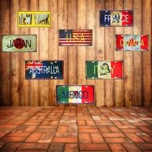 Mexico Italië Frankrijk Auto Metalen Plaat Vintage Thuis Decoratieve Land Tin Teken Bar Cafe Art Wall Decor Schilderen Usa Plaque 30x15cm