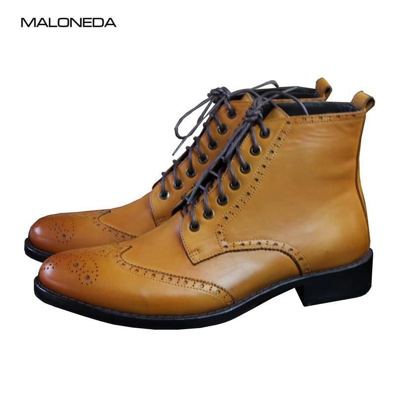 MALONEDE-أحذية جلدية أصلية للرجال ، أحذية كلاسيكية مصنوعة يدويًا مع أربطة ، أحذية قصيرة مصنوعة يدويًا