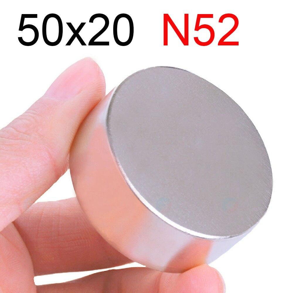 1 Uds 50x20 imán de neodimio 50mm x 20mm N35 NdFeB redondo Super potente disco magnético permanente imanes 50x20