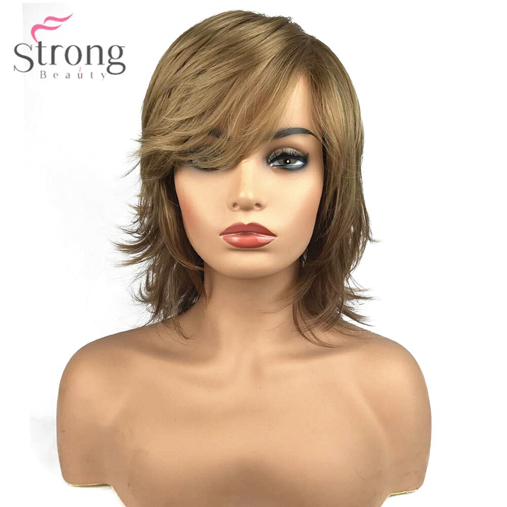 StrongBeauty Women's Synthetic Capless Wig Natural Hair Blonde Medium Straight Layered Haircut Celebrity Wigs