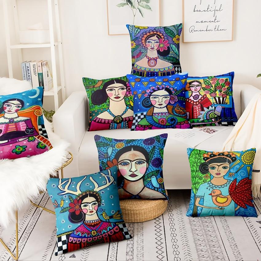América del Sur arte cojín indio chica impreso almohada Para casa decoración decorativas almofadas Para sofá almohada