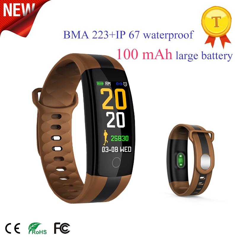 Смарт-браслет с монитором пульса и артериального давления, цветной экран, спортивный фитнес-трекер, 100 мА/ч, браслет с большой батареей