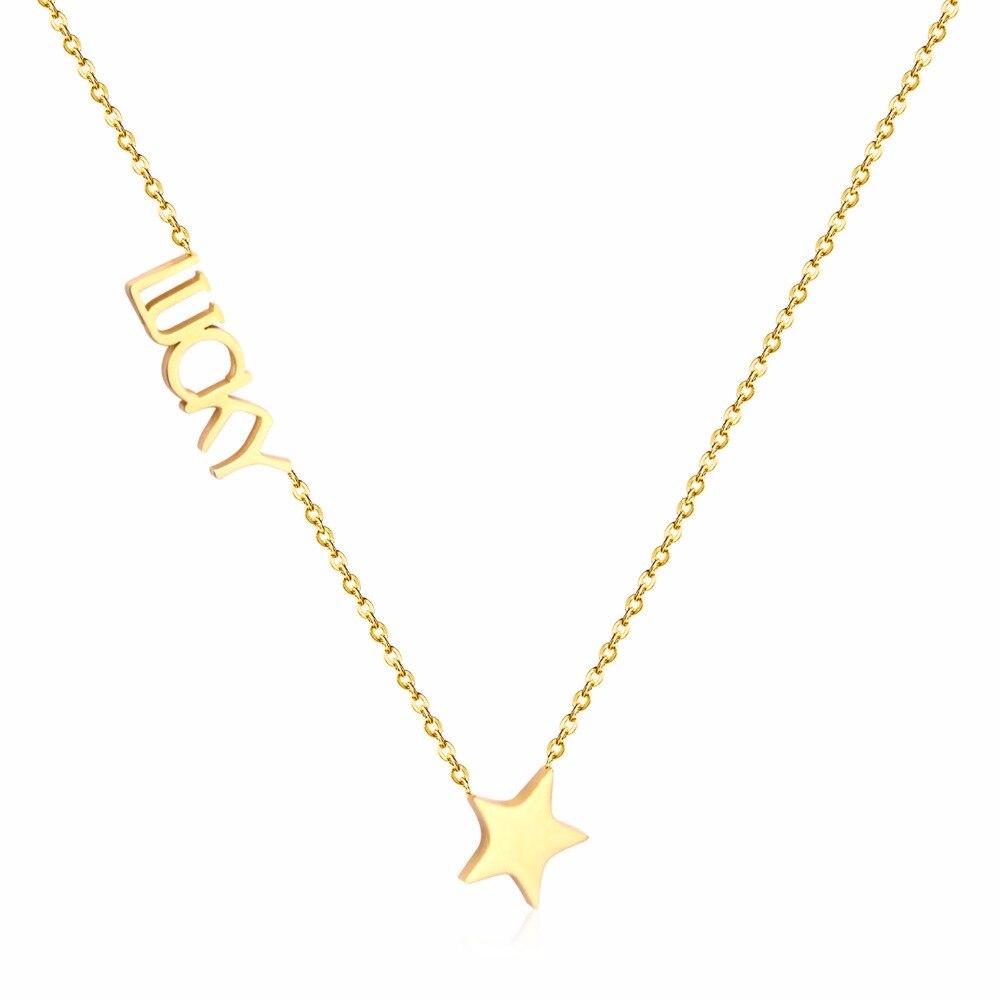 LUXUKISSKIDS-gargantilla de acero inoxidable 316L, cadena de oro, collares de estrella de...