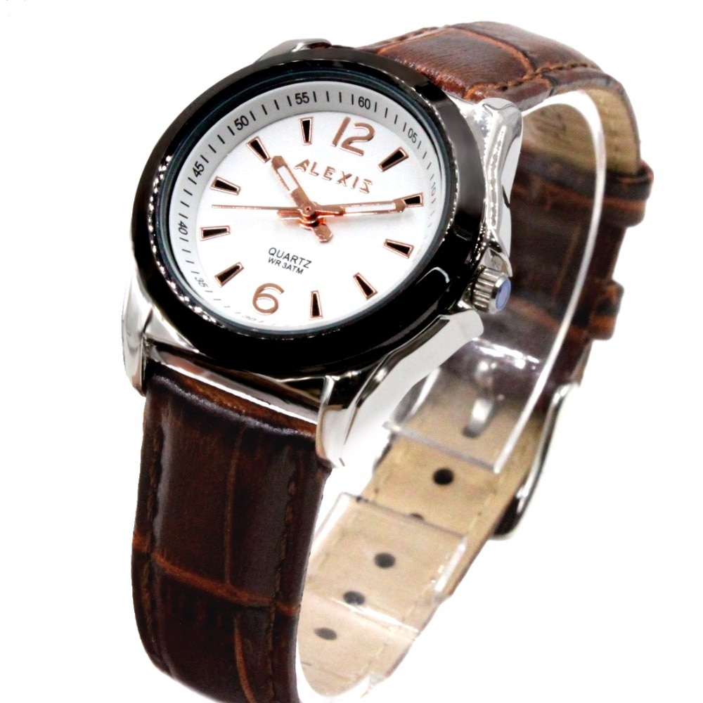 Alexis Women Analog Quartz Round Watch Japan Miyota Movement Brown Geninue Leather Strap White Dial Water Resistant enlarge