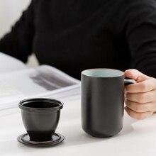 Taza de té de cerámica negra TANGPIN, taza de té de viaje con filtros, taza de café de porcelana de 330ml