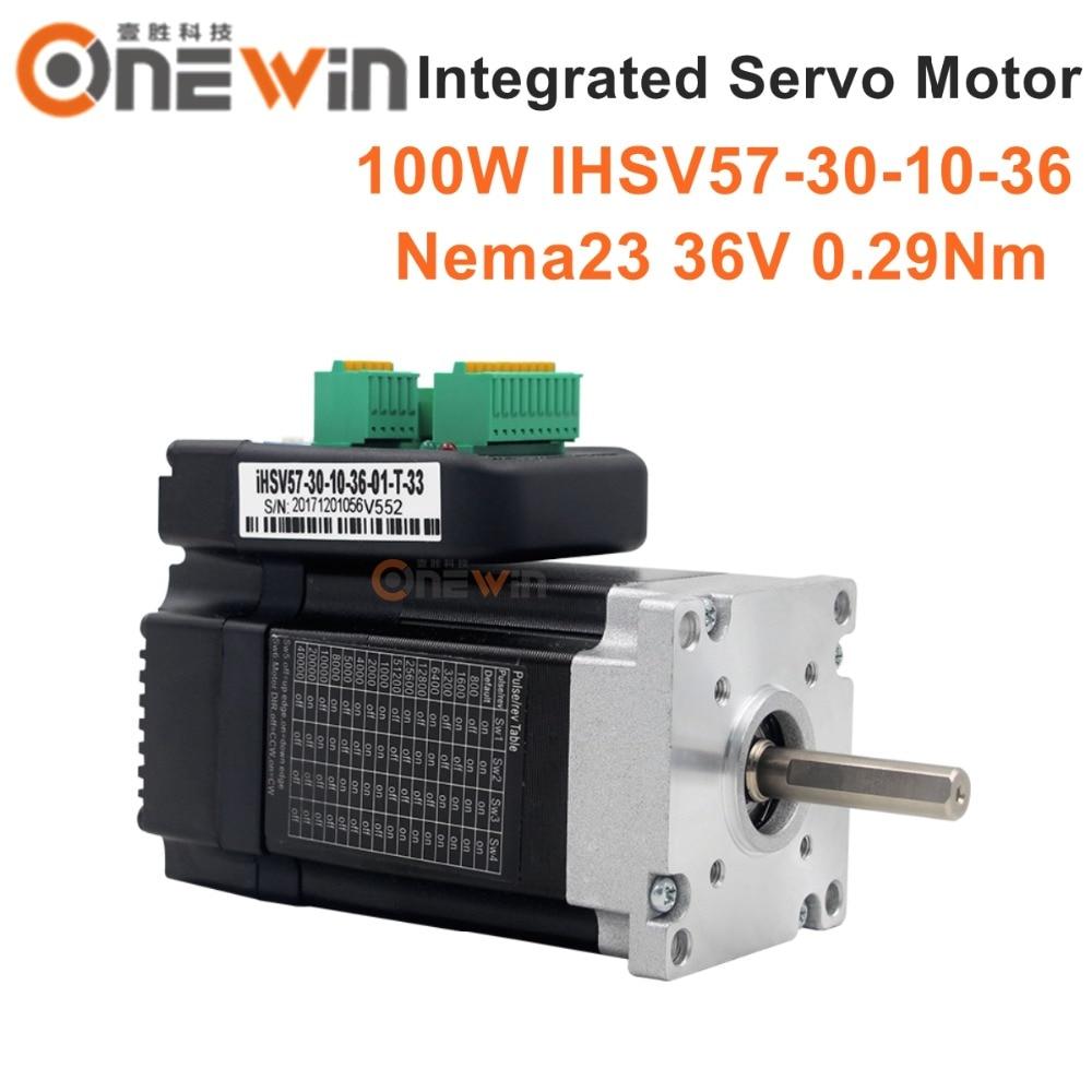 100W NEMA23 integrado Servo Motor 3000rpm 36VDC 0.29Nm iHSV57-30-10-36