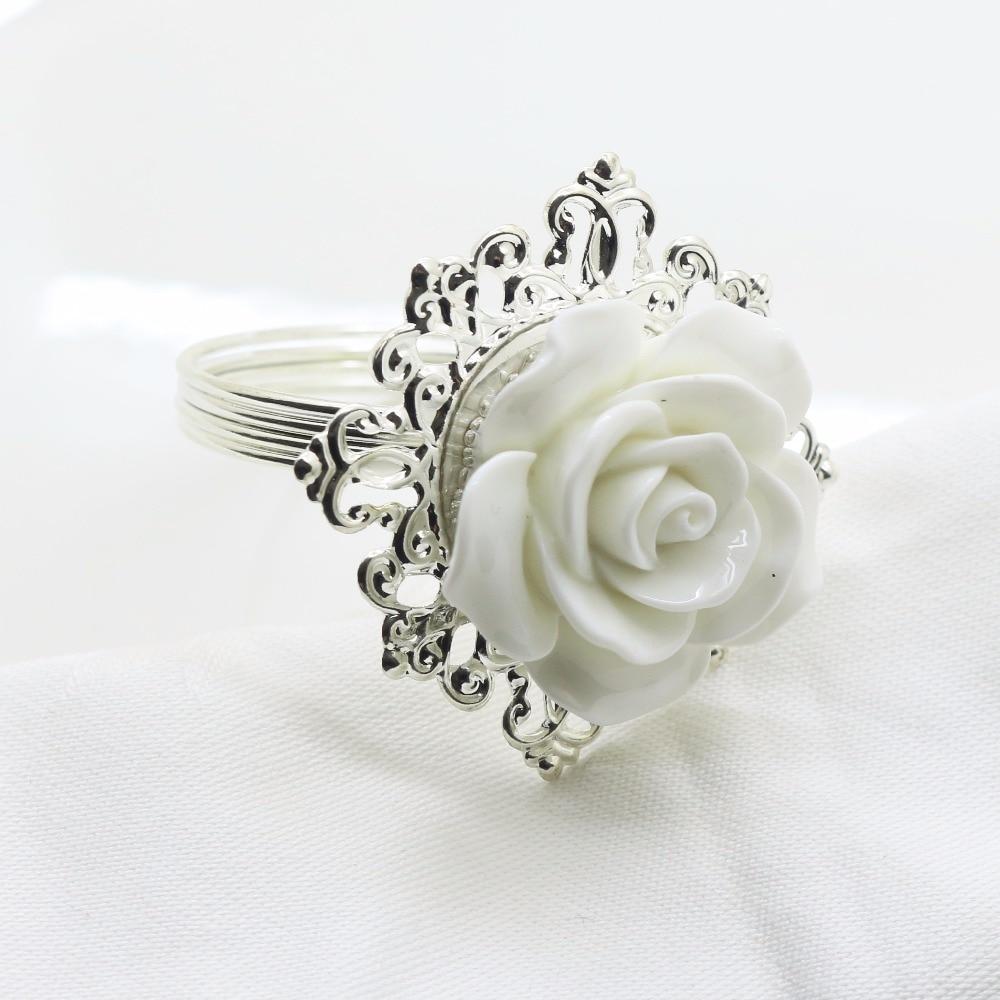New 6pcs / 10pcs White Resin Rose Napkin Ring Party Entertain Wedding Napkins cloth Decorative deduction Table Banquet Dinner