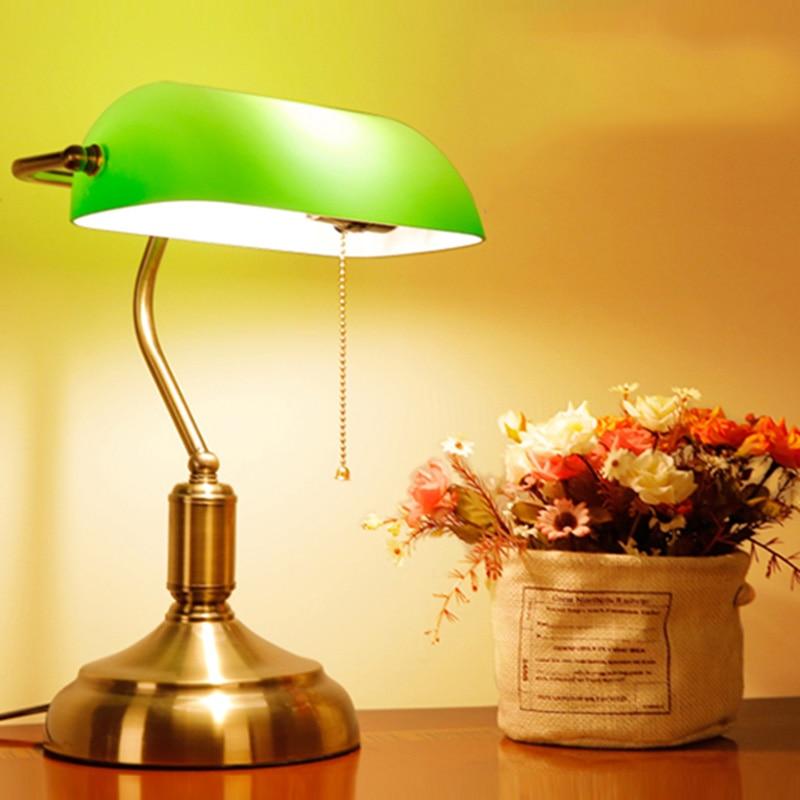 Old Shanghai vintage green glass lampshade bank table lamp for coffee shop study bedroom bedside 110V 220V 90-260V XU