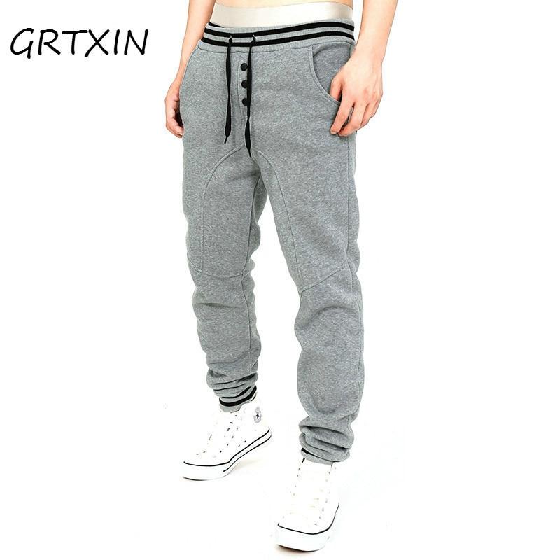 GRTXIN New Winter Add Velvet Wearm Men Trousers Thicker Men Sweatpants Fasion Cotton Pants Casual Solid Color Fitness Trousers