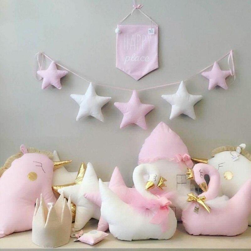 Nórdico habitación de bebé hecho a mano vivero estrella guirnaldas navidad niños Pared de habitación decoraciones fotografía accesorios mejores regalos
