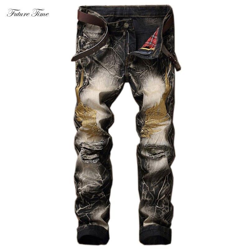 سروال جينز رجالي مطرز ملابس طريق منتصف الخصر جينز مستقيم عتيق تأثير الشارب مطرز بالخرز سروال رجالي ربيعي C1473