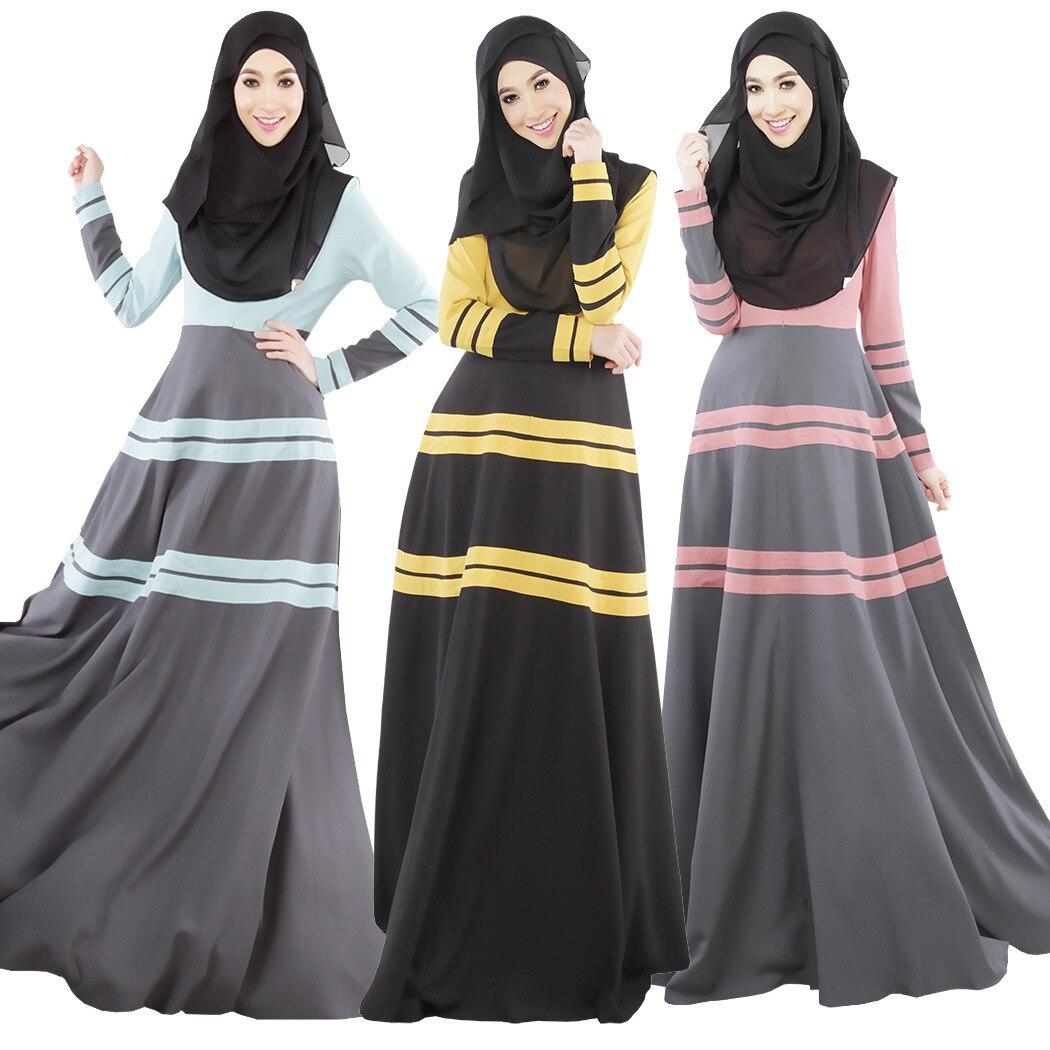عباية المرأة فستان طويل أنيق فستان مسلم المرقعة موضة الملابس العربية حجم كبير الإسلامية للنساء عباية فستان تركي