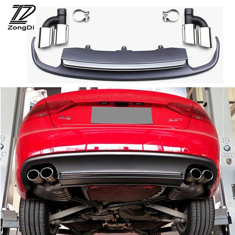 S5 estilo PP + Kit de difusor de parachoques de labio trasero inoxidable escape de coche tubo silenciador consejos para Audi A5 accesorios 2012-2015 2/4-puerta