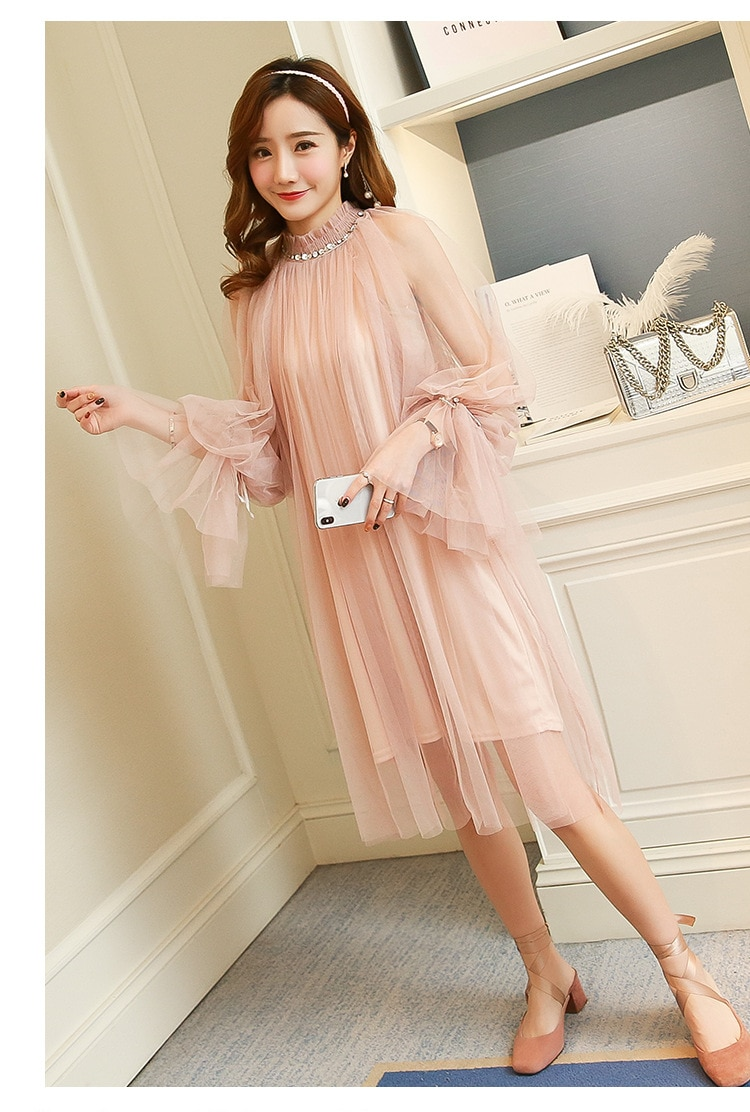 New 2021 Lace Maternity Dress Gown Wedding Party Photography Props Dresses O Neck Long Maxi Dresses for Pregnant Women Pregnancy enlarge