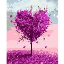 Peinture à lhuile numérique bricolage   Peinture à lhuile, par nombres, fleur amour arbre mur, toile dart, pinceau encadré, dessin peinture de coloration par numéros