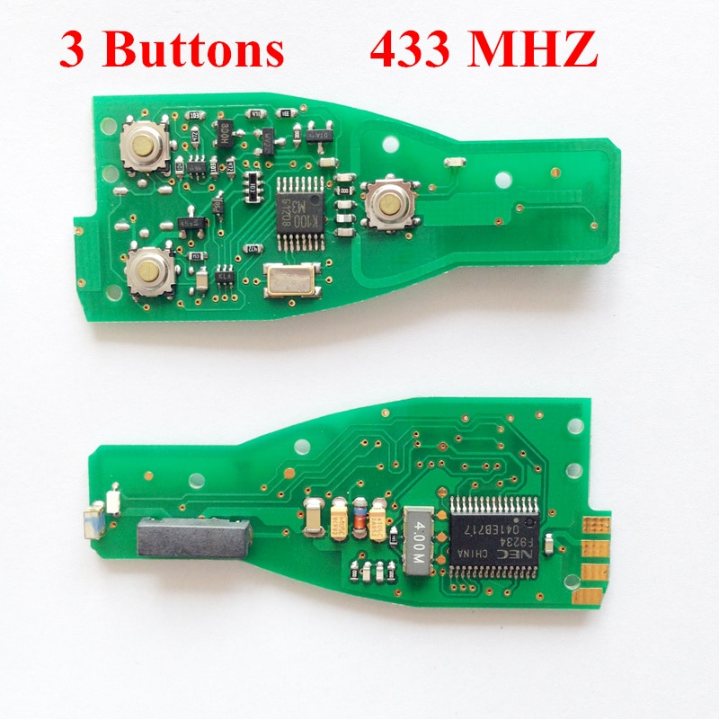 Placa PCB OEM Chave Inteligente Para Benz Chave 3 Botões 433 MHZ Sem Chave Shell
