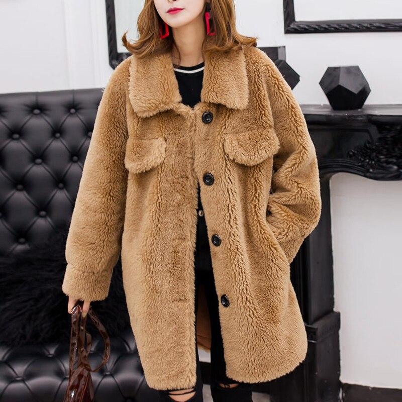 Faux Fur Coat Fashion Furry Women Warm Long Sleeve Female Outerwear Autumn Winter Coat Jacket Thick Plus Size Coats