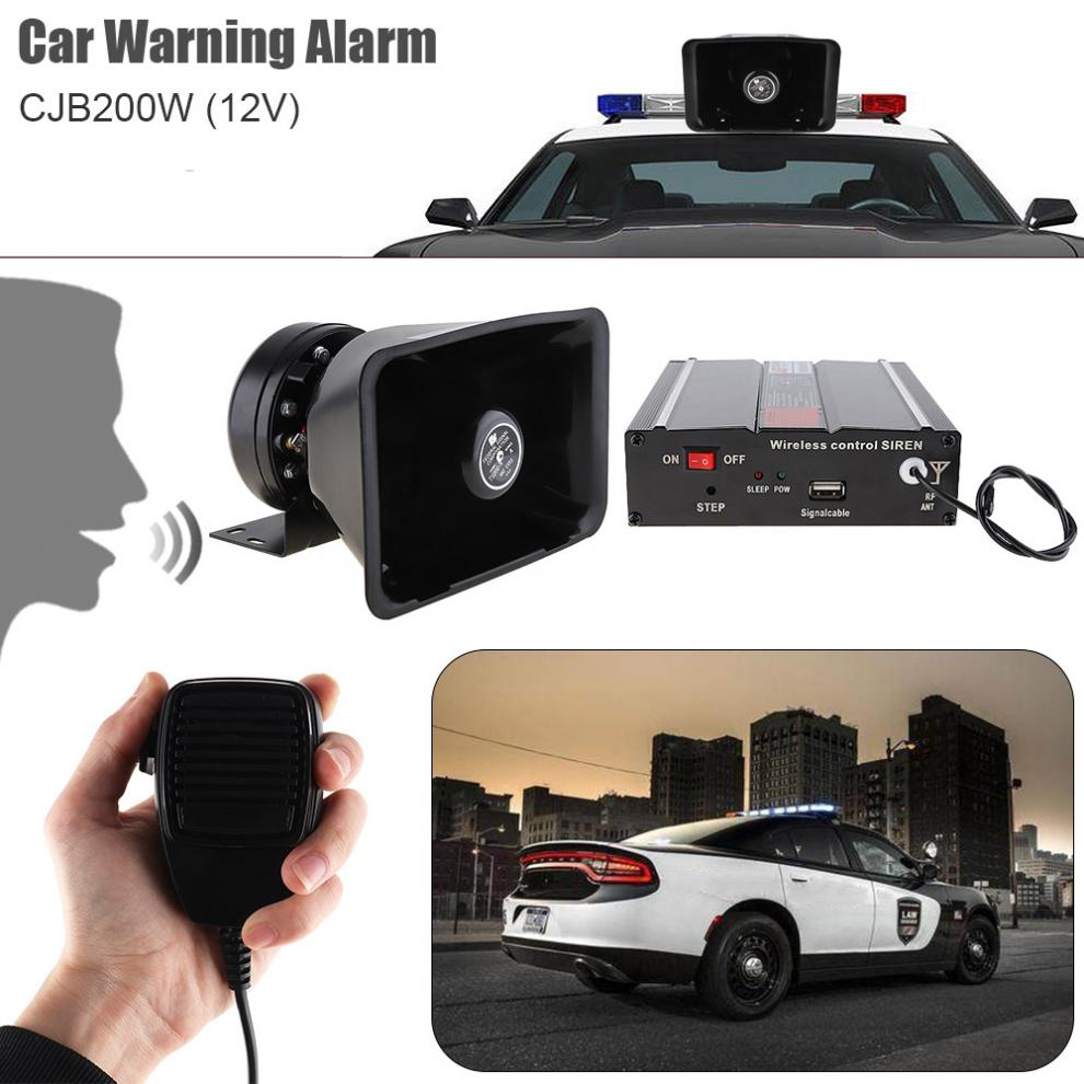 DC12V 200W 9 Tone Loud Car Warning Alarm Police Siren Horn Speaker with MIC System