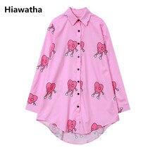 Hiawatha Summer Harajuku Long Sleeve Blouse Women Cute Pink Chiffon Shirt Casual Loose Turn-down Collar Blusas T3245