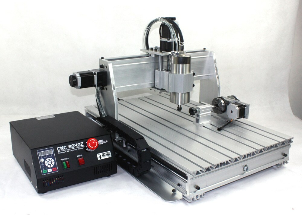 From USA ship New type 4 Axis 6040Z 1500W 1.5KW USB Mach3 CNC Router Engraver Engraving Milling Cutting machine 110V/220V enlarge