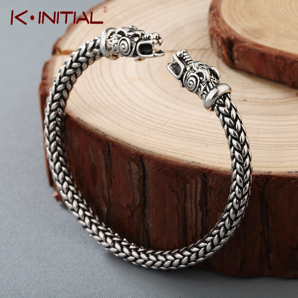 Brazalete Kinitial de dragón vikingo nórdico, joyas antiguas, Color plateado, bronce, brazalete abierto, accesorios para disfraces escandinavos