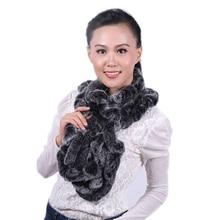 Echtpelz Schal Für Frauen Winter Volants Design Echte Rex kaninchen Pelz Scarve Elegante Weibliche Mode Echtpelz Russland Warm schal