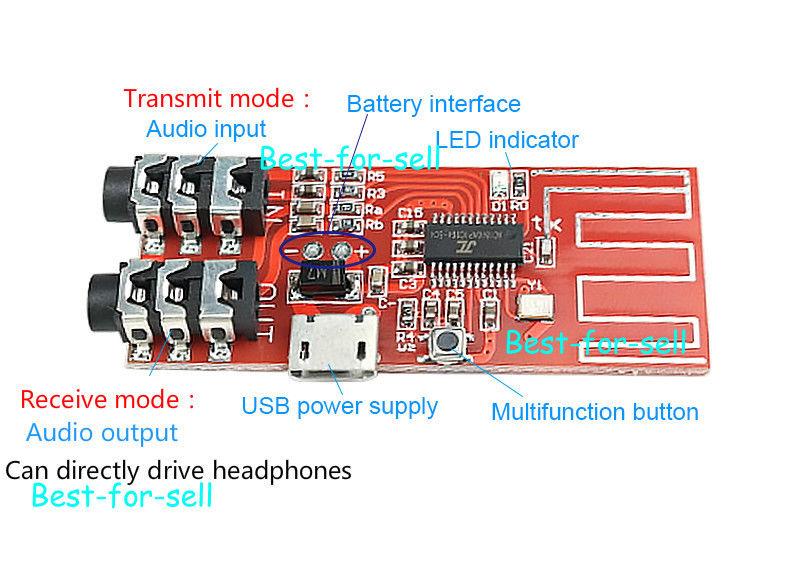 Transmisor Inalámbrico estéreo 4,2 Bluetooth + placa receptora auriculares Bluetooth Modul fuente de alimentación usb o batería de litio de 3,7 v