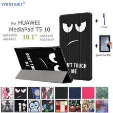 "Capa de couro para huawei mediapad t5 10 tablet para huawei mediapad t5 AGS2-W09/l09/l03/w19 10.1 ""tablet suporte capa + filme"