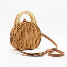 crossbody bags for women Wood handle Rattan handbag woven bag new straw bag shoulder bags women clutch round purses