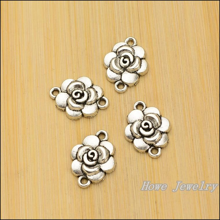30 Uds. De abalorios de aleación de zinc con conector de flores Vintage, collar de pulsera DIY, joyería de metal, fabricación de accesorios