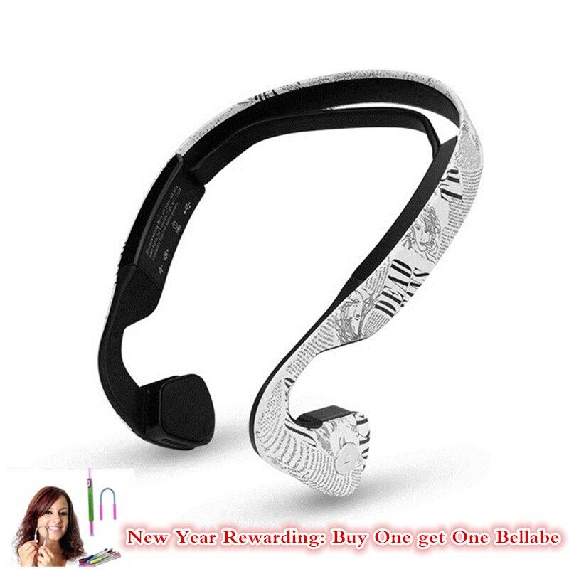 Papel da notícia Impressa Condução Óssea fone de Ouvido Bluetooth Estéreo Sem Fio Fone de Ouvido Com Microfone Esporte de Corrida de Condução de Fone De Ouvido Para O Telefone