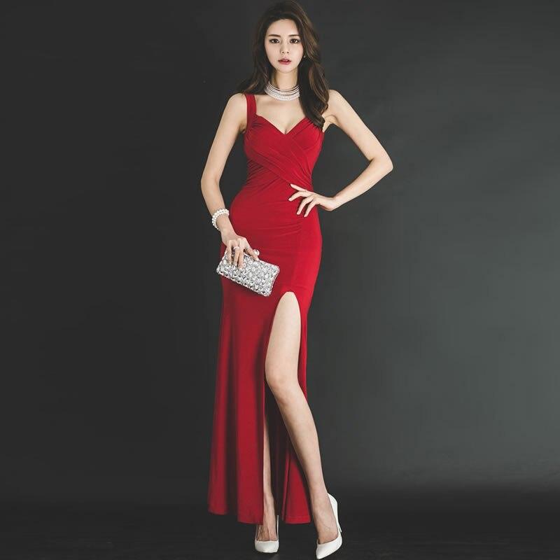 فستان طويل بدون أكمام برقبة على شكل v ، ضيق ، مثير ، قماش عشاء أحمر ، أرجوحة ، فستان سهرة ، صيف 2020